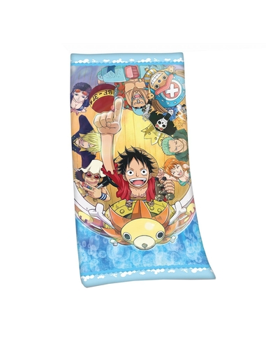 One Piece Velour Towel Straw Hat Pirates 75 x 150 cm